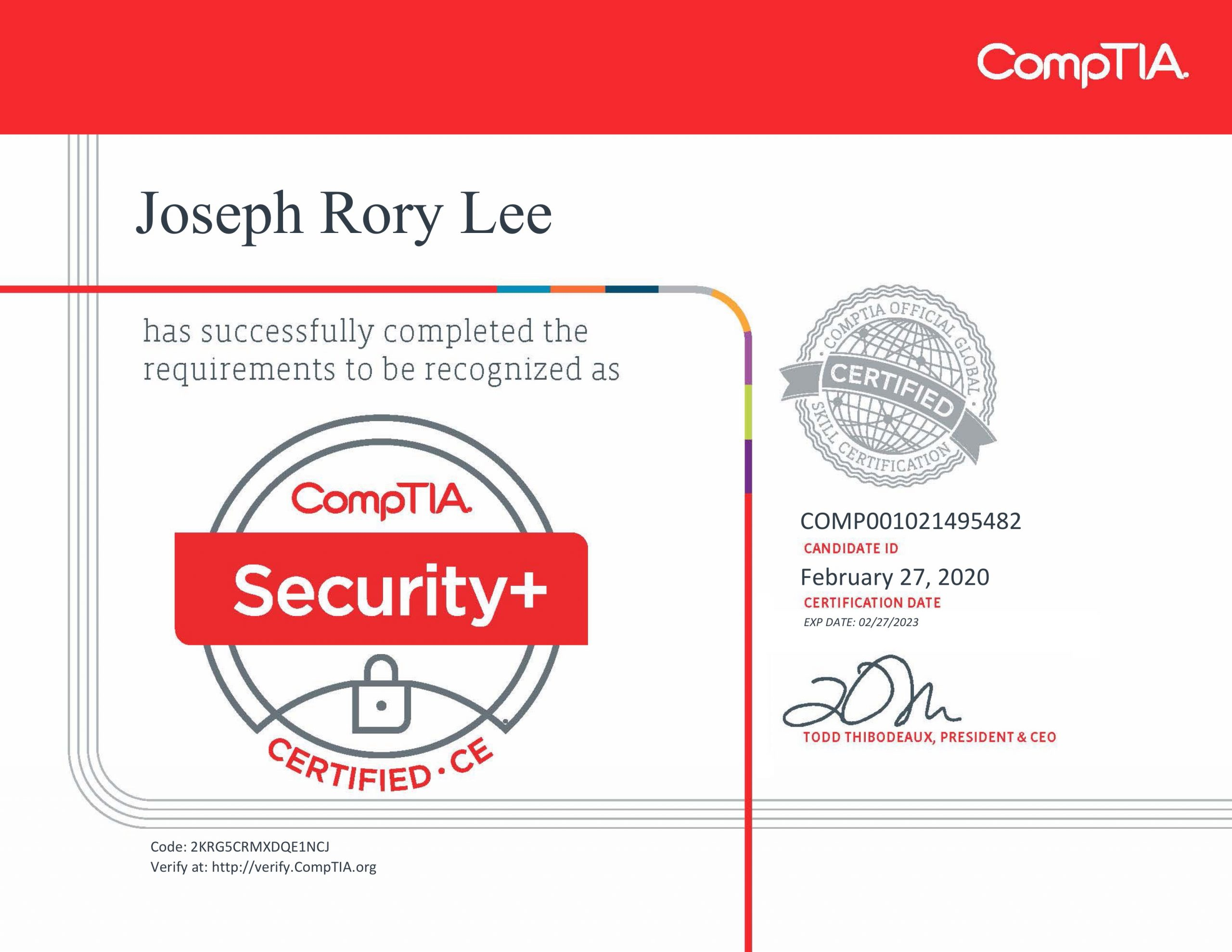 CompTIA Security+ SY0 501