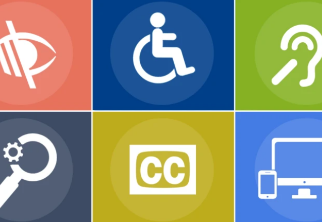 Graphic image with icon for each disability such as visual, hearing, and physical