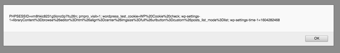 Graphic of Javascript alert box output showing the cookies on the screen