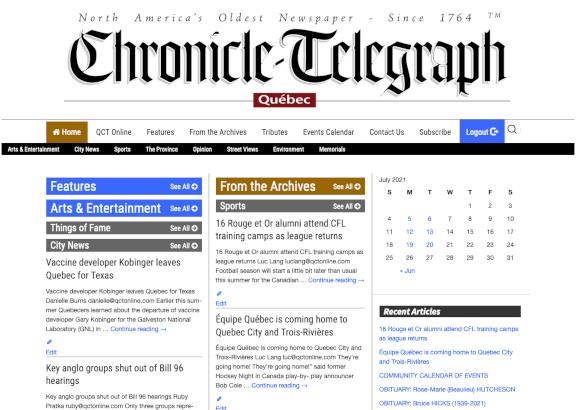 Quebec Chronicle Telegraph Newspaper