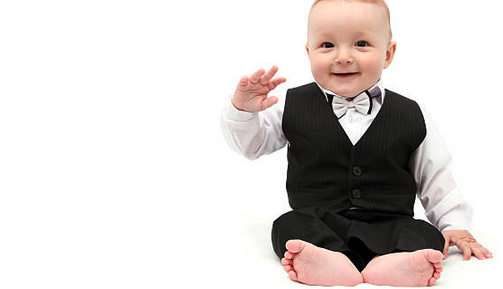 Picture of a baby wearing a tuxedo